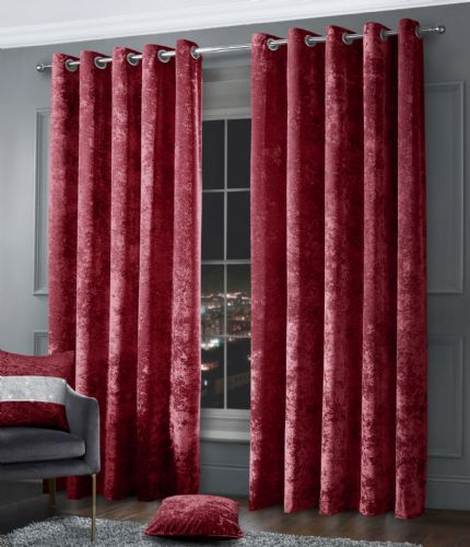 Stylish Crushed Velvet Modern Textured Ringtop Eyelet Pair Of Curtains Raspberry Colour